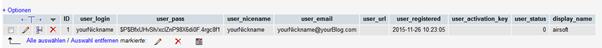 wp-users Tabelle mit User und Passwort