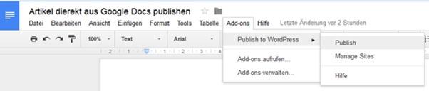 Google Docs Menü