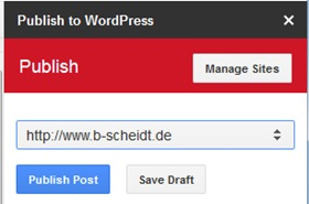 Publish to WordPress Menü